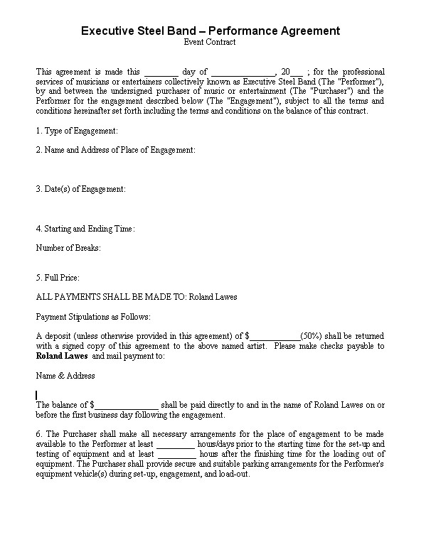 Band Contract Template  BesikEightyCo